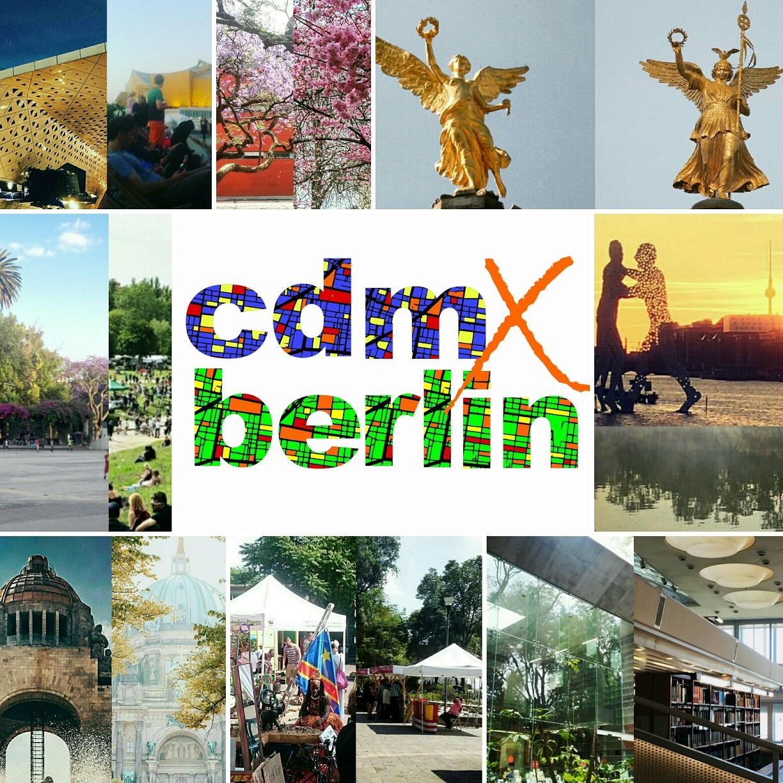 Collage der beliebtesten Orte in Berlin und Mexiko-Stadt/Collage de los lugares más populares en Berlín y la CDMX